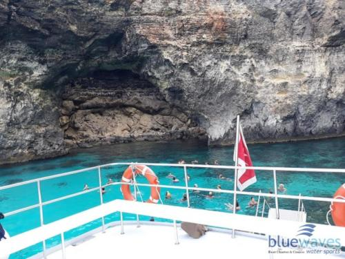 Large sundeck area onboard trips to Comino and Blue lagoon